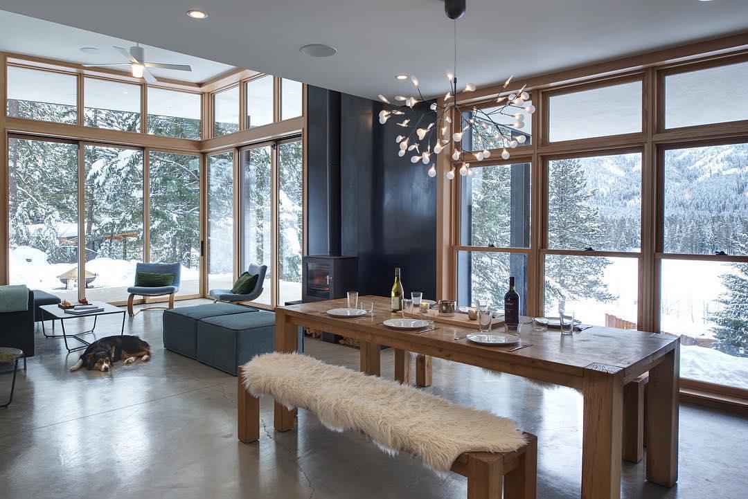 loewen corner window wall pockets to open living room - Open Living Room
